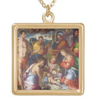 The Nativity, 1534 (oil on panel) Gold Plated Necklace