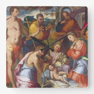 The Nativity, 1534 (oil on panel) Square Wall Clock