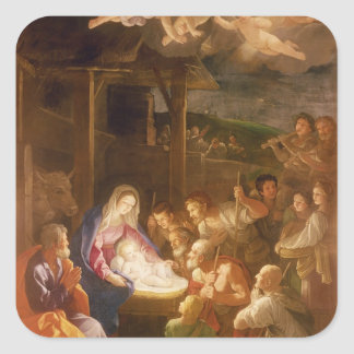 The Nativity at Night, 1640 Square Stickers