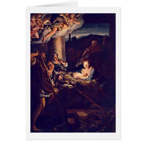 The Nativity By Antonio Allegri Da Correggio Card