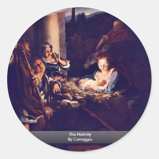 The Nativity By Correggio Classic Round Sticker