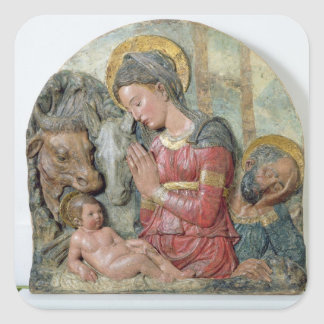 The Nativity, c.1460 (painted terracotta) Square Sticker