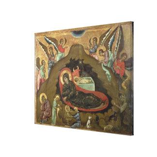 The Nativity, (oil on panel) Canvas Print