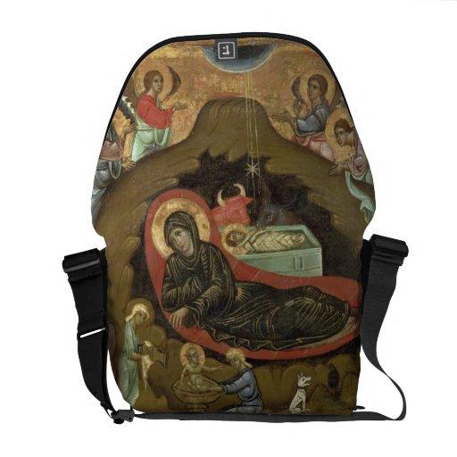 The Nativity, (oil on panel) Messenger Bags