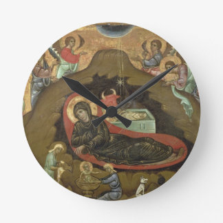 The Nativity, (oil on panel) Round Clock