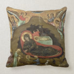 The Nativity, (oil on panel) Throw Pillow