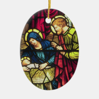 The Nativity Double-Sided Oval Ceramic Christmas Ornament