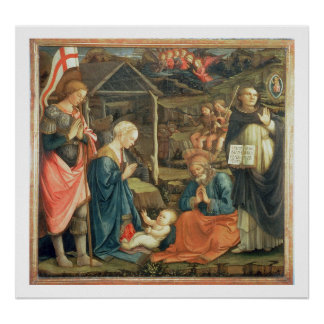 The Nativity with SS. Michael and Dominic, 1470 (t Poster