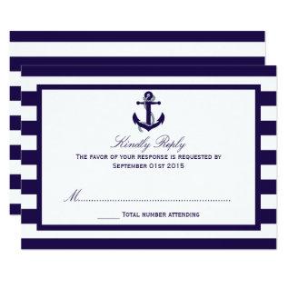 The Nautical Anchor Navy Stripe Wedding Collection Card at Zazzle