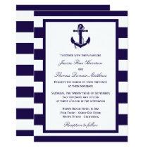 The Nautical Anchor Navy Stripe Wedding Collection Card