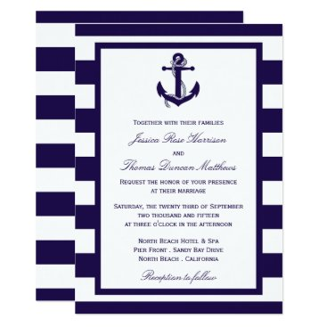 Beach Themed The Nautical Anchor Navy Stripe Wedding Collection Card