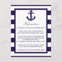 The Nautical Anchor Navy Stripe Wedding Collection Enclosure Card