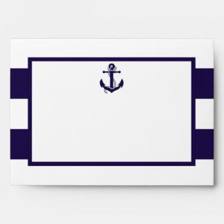The Nautical Anchor Navy Stripe Wedding Collection Envelope