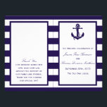 """The Nautical Anchor Navy Stripe Wedding Collection Flyer<br><div class=""""desc"""">The nautical anchor navy stripe wedding collection is perfect for any couple planning a romantic marriage by the sea.     These programs can be personalized for your special occasion and would make the perfect order of service for any wedding,  bridal shower,  engagement party,  birthday party and much,  much more.</div>"""