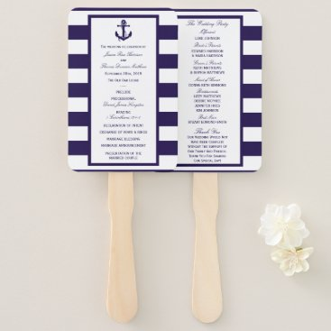 Beach Themed The Nautical Anchor Navy Stripe Wedding Collection Hand Fan