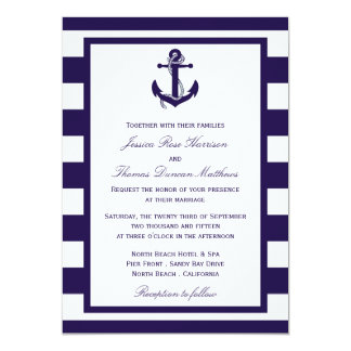 The Nautical Anchor Navy Stripe Wedding Collection 5x7 Paper Invitation Card