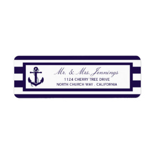 The Nautical Anchor Navy Stripe Wedding Collection Label at Zazzle
