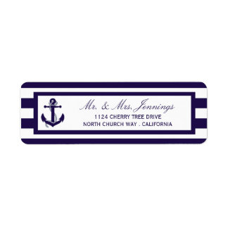 The Nautical Anchor Navy Stripe Wedding Collection Label