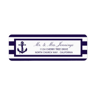 Beach Themed The Nautical Anchor Navy Stripe Wedding Collection Label