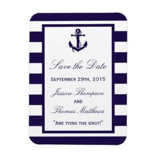 The Nautical Anchor Navy Stripe Wedding Collection Magnet