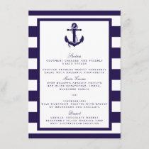 The Nautical Anchor Navy Stripe Wedding Collection Menu