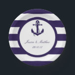 "The Nautical Anchor Navy Stripe Wedding Collection Paper Plate<br><div class=""desc"">The nautical anchor navy stripe wedding collection is perfect for any couple planning a romantic marriage by the sea.     These paper plates can be personalized for your special occasion and would make the perfect item for any wedding,  bridal shower,  engagement party,  birthday party and much,  much more.</div>"