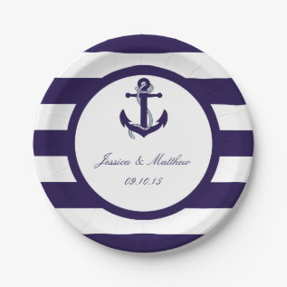 The Nautical Anchor Navy Stripe Wedding Collection Paper Plate at Zazzle