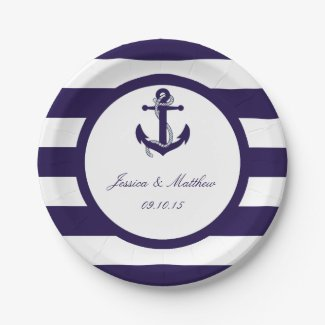 The Nautical Anchor Navy Stripe Wedding Collection Paper Plate