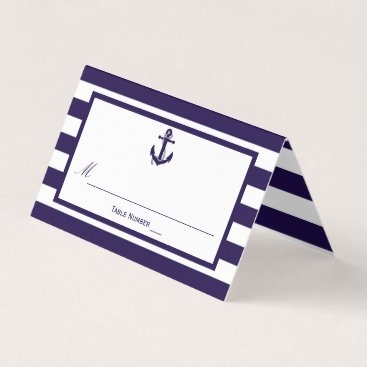 Beach Themed The Nautical Anchor Navy Stripe Wedding Collection Place Card
