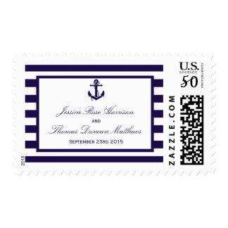 The Nautical Anchor Navy Stripe Wedding Collection Postage