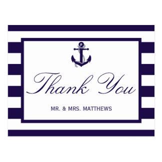The Nautical Anchor Navy Stripe Wedding Collection Postcard