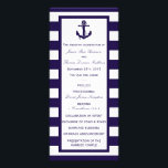 """The Nautical Anchor Navy Stripe Wedding Collection Rack Card<br><div class=""""desc"""">The nautical anchor navy stripe wedding collection is perfect for any couple planning a romantic marriage by the sea.      These programs can be personalized for your special occasion and would make the perfect order of service for any wedding,  bridal shower,  engagement party,  birthday party and much,  much more.</div>"""