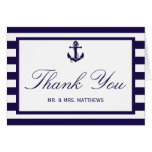 The Nautical Anchor Navy Stripe Wedding Collection Stationery Note Card