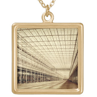 The Nave at Crystal Palace, Hyde Park, March 1852 Square Pendant Necklace