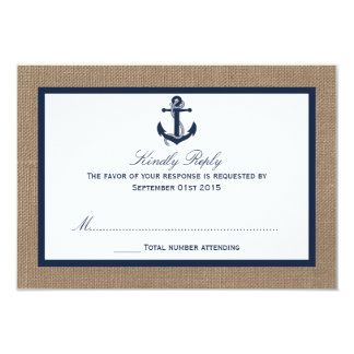 The Navy Anchor On Burlap Beach Wedding Collection 3.5x5 Paper Invitation Card