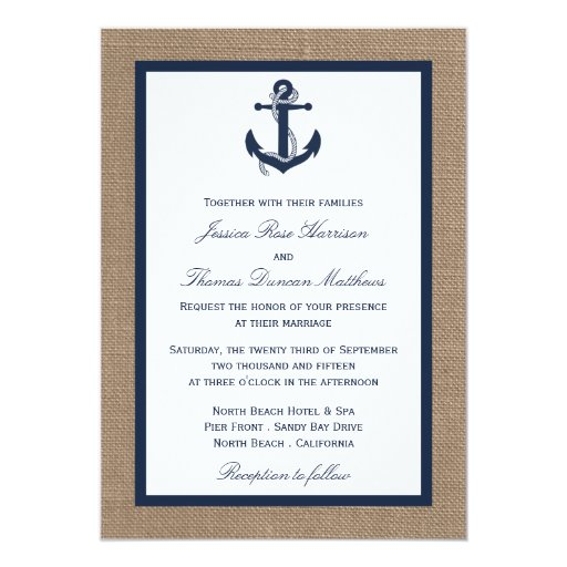 The navy anchor on burlap beach wedding collection 5x7 for Paper fasteners wedding invitations