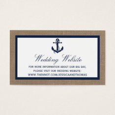 The Navy Anchor On Burlap Beach Wedding Collection Business Card at Zazzle