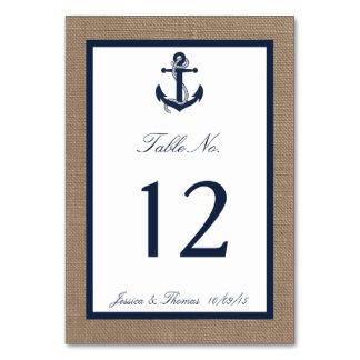 The Navy Anchor On Burlap Beach Wedding Collection Card