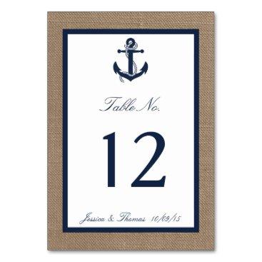 Beach Themed The Navy Anchor On Burlap Beach Wedding Collection Card