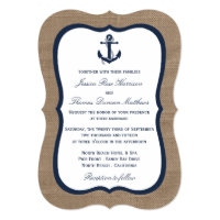 The Navy Anchor On Burlap Beach Wedding Collection Card