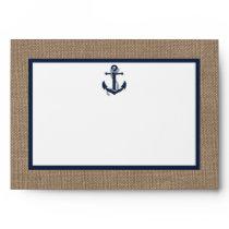 The Navy Anchor On Burlap Beach Wedding Collection Envelope