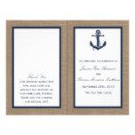 "The Navy Anchor On Burlap Beach Wedding Collection 8.5"" X 11"" Flyer"