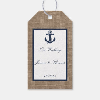 The Navy Anchor On Burlap Beach Wedding Collection Gift Tags