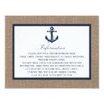 "The Navy Anchor On Burlap Beach Wedding Collection 4.25"" X 5.5"" Invitation Card"