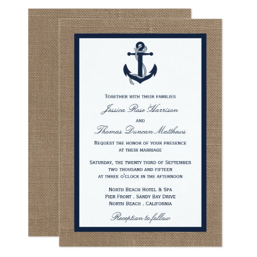 The Navy Anchor On Burlap Beach Wedding Collection Invitation