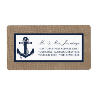 The Navy Anchor On Burlap Beach Wedding Collection Label