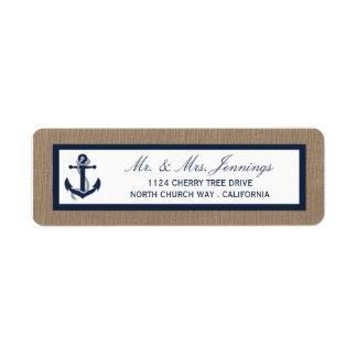 The Navy Anchor On Burlap Beach Wedding Collection Label