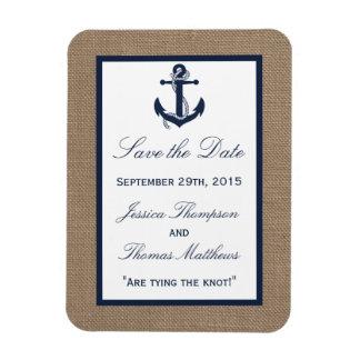 The Navy Anchor On Burlap Beach Wedding Collection Magnet