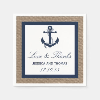 The Navy Anchor On Burlap Beach Wedding Collection Standard Cocktail Napkin
