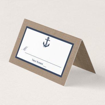 Beach Themed The Navy Anchor On Burlap Beach Wedding Collection Place Card